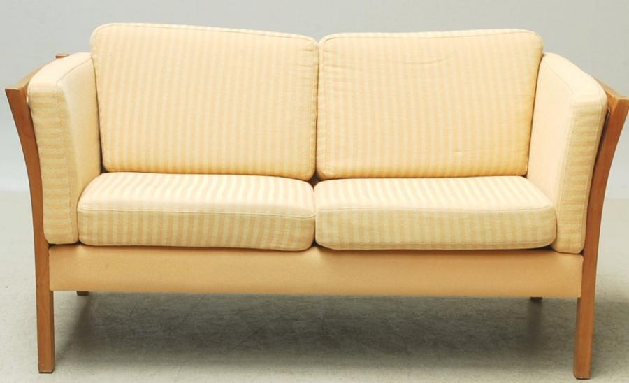 2 Seat Sofa beech frame light yellow woolen upholstery.jpg